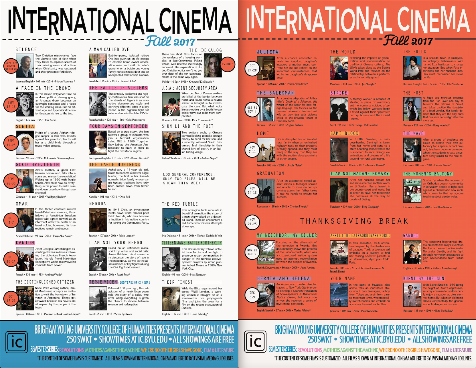 International Cinema Fall 2017 Refers to person, place, thing, quality, etc. spanish portuguese brigham young university